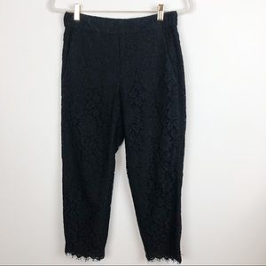 J. CREW BLACK LACE CROPPED PANTS SZ 2